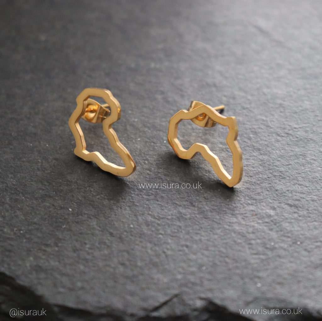 Africa Hollow Stud Earrings Gold - Iṣura