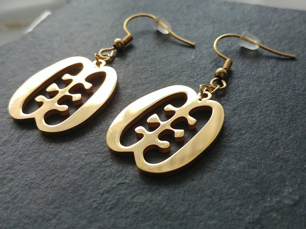 Ese Ne Tekrema Adinkra Drop Earrings - Iṣura