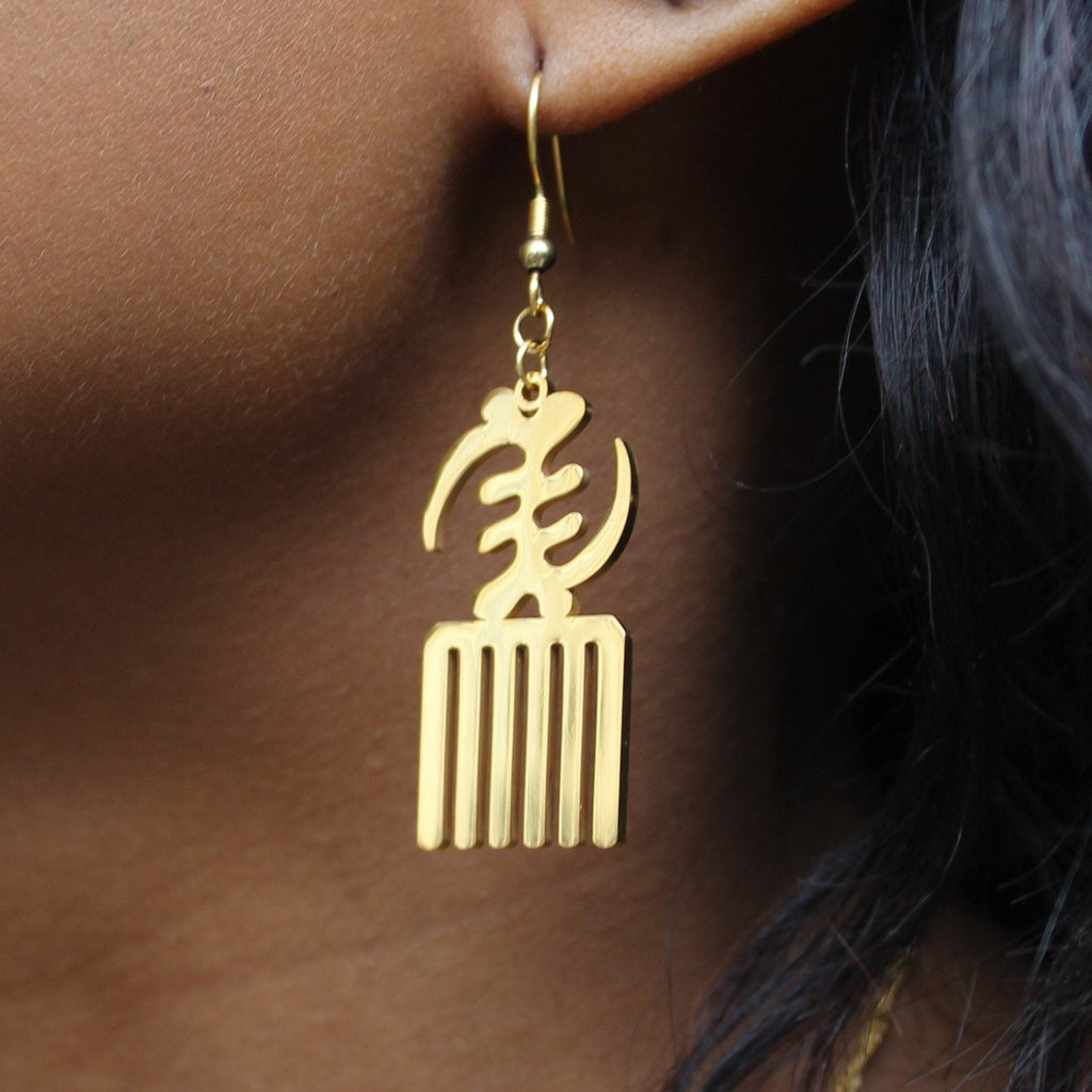 Gye Nyame Duafe Drop Earrings - Iṣura