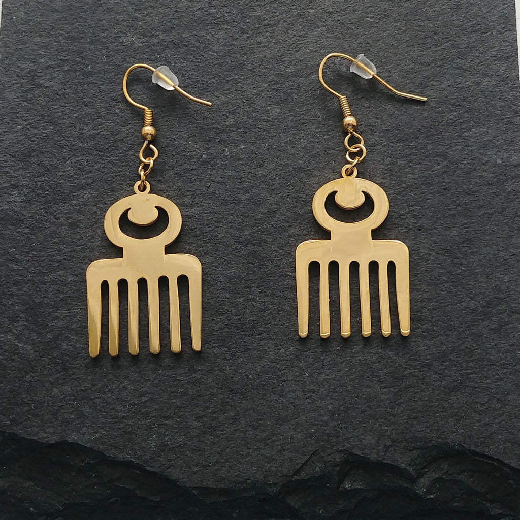 Duafe Adinkra Drop Earrings - Iṣura