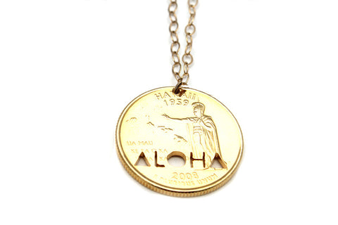 Gold ALOHA Hawaii Quarter Necklace