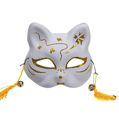 Le Renard Roux 4 / China 2020 Unisex Japanese Fox Mask With Tassels&Bell Non-toxic Cosplay Hand Painted 3D Fox Mask Costumes Props Accessories