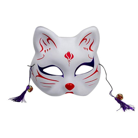 Le Renard Roux 3 / China 2020 Unisex Japanese Fox Mask With Tassels&Bell Non-toxic Cosplay Hand Painted 3D Fox Mask Costumes Props Accessoriesc
