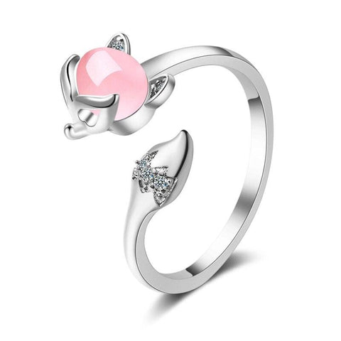 Female Fox Ring (Silver - Pink Gold)
