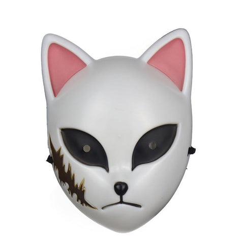 Le Renard Roux White Anime Demon Slayer Kimetsu No Yaiba Cosplay Mask Plastic Material Kamado Tanjirou Cosplay Anime Fox Mask