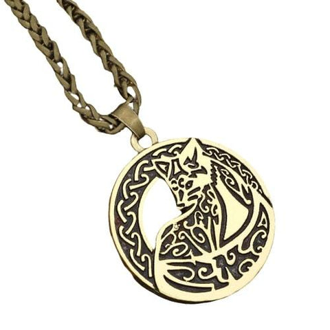 Mens Fox Necklace (Silver & Gold)