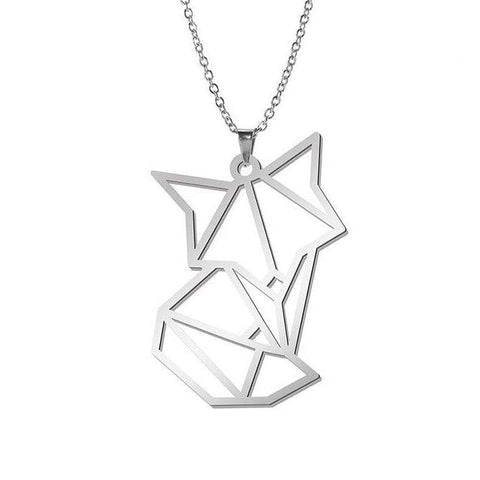 Fox Origami Necklace (Silver and Gold)