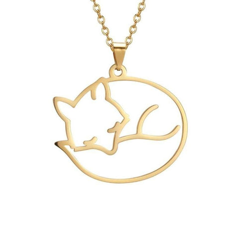 Fox Motif Necklace (Silver & Gold)