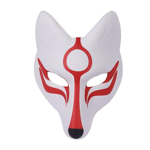 Le Renard Roux Masque renard GNHYLL Carnival Masquerade Anime Cosplay Animal Pu Leather White Japanese Kitsune Fox Mask