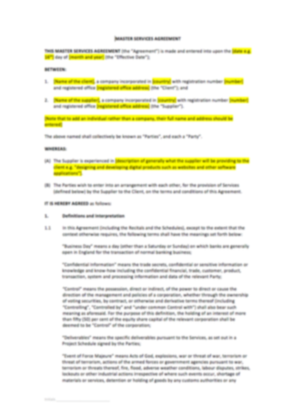 Master Services Agreement Template - UK Template ...