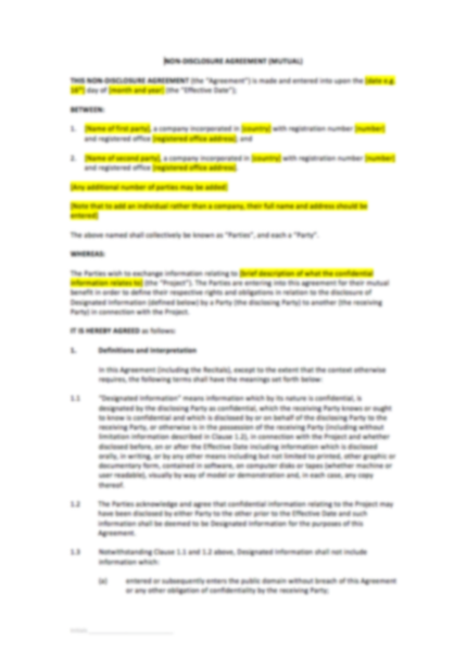 Non Disclosure Agreement Template Uk Template Agreements