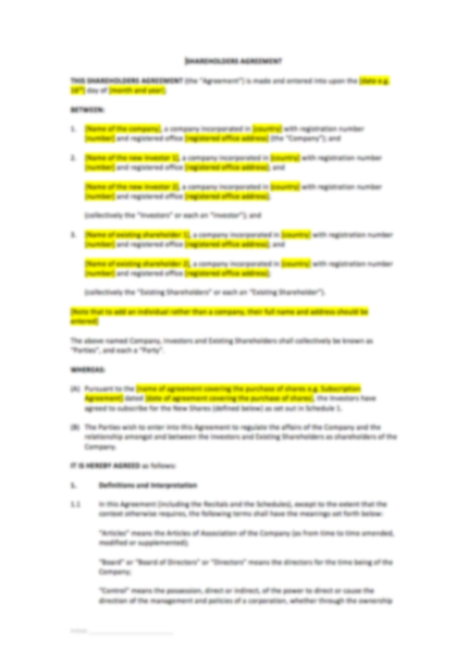 Holders Agreement Template – UK Template Agreements