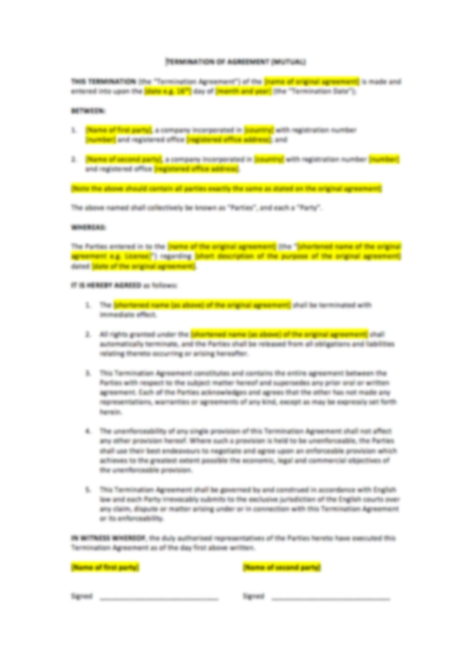Termination Of Agreement Template UK Template Agreements