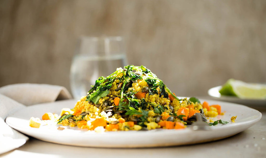Persian cauliflower rice with roasted pumpkin seeds and parsley crisps