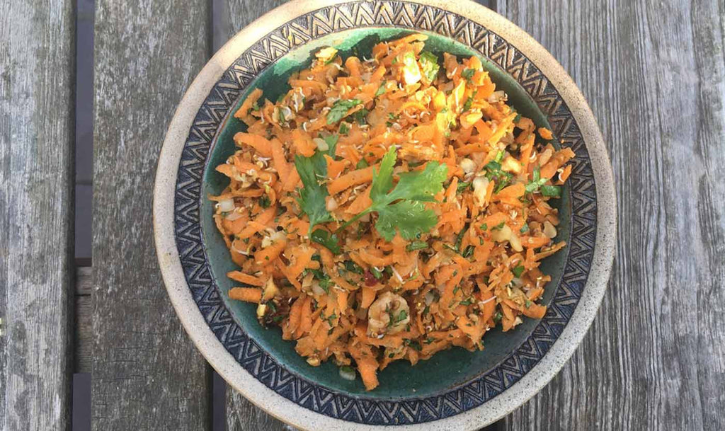 Carrot, ginger and walnut salad
