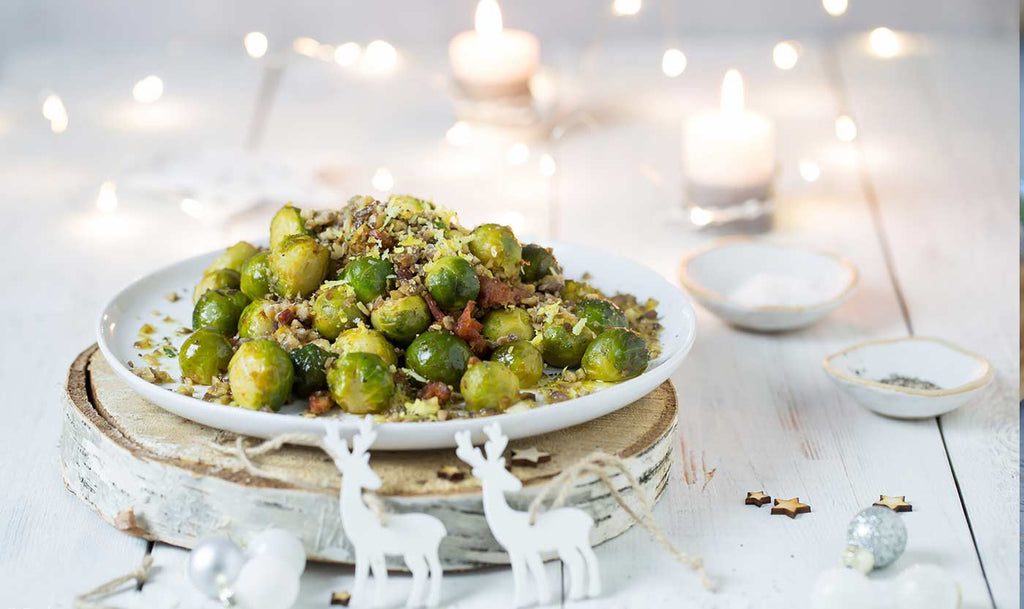 Roasted sprouts, chorizo with a chestnut and lemon crumb