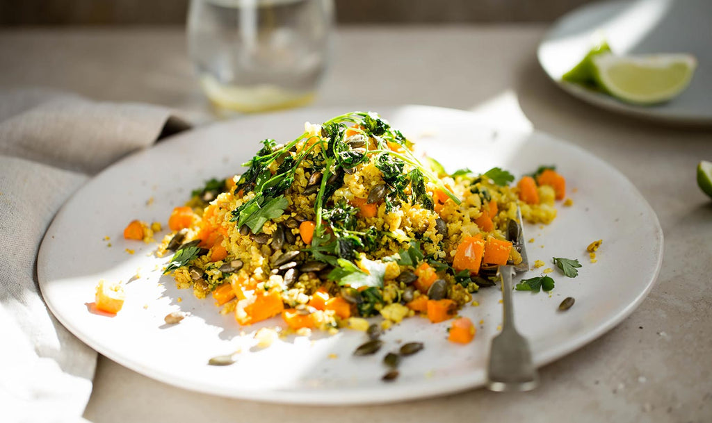 bare-biology-health-recipe-Persian-cauliflower-rice-with-roasted-pumpkin-seeds-and-parsley-crisps-jo-harding