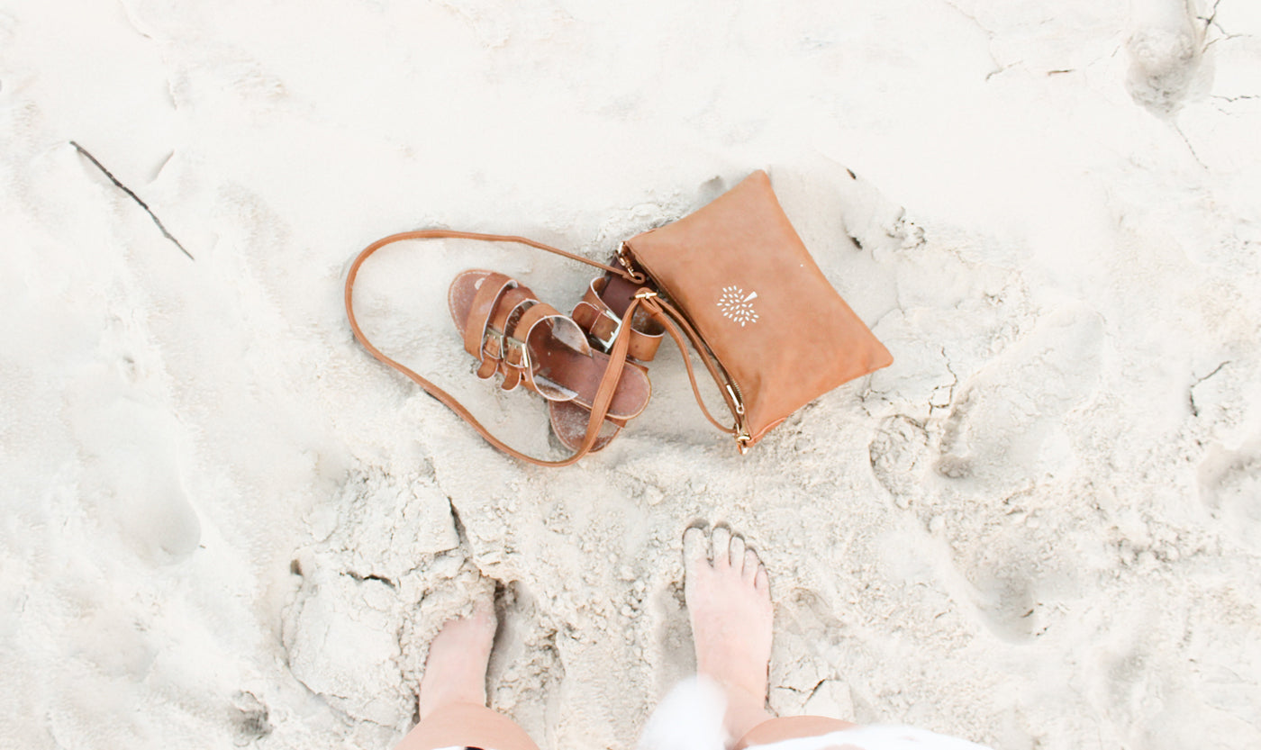 a-pair-of-shoes-and-bag-on-the-sand