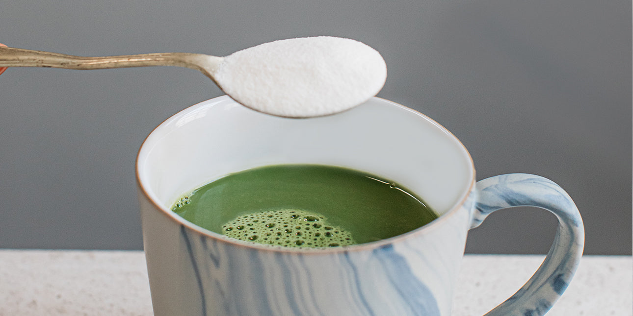 collagen-matcha-latte-with-a-spoon-of-skinful-bare-biology