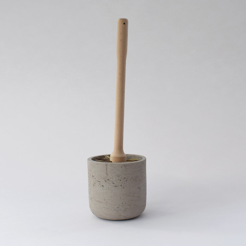 Beech Toilet Brush & Concrete Holder