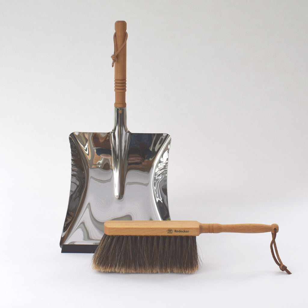Stainless steel dustpan and natural bristle brush by Redecker