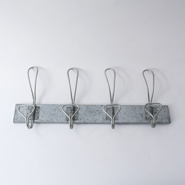 Galvanised coat hook rail by Garden Trading