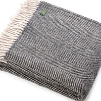 Welsh Herringbone silver grey throw, made from 100% pure new wool - Housekeeping Store