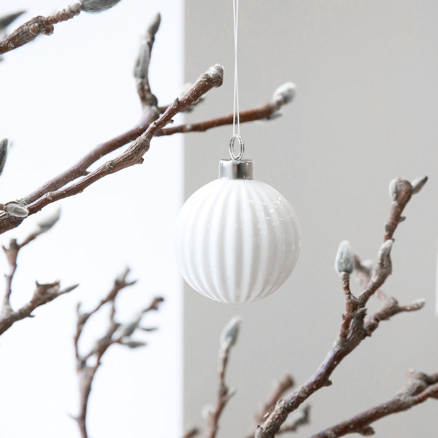Pleated White Christmas Decoration