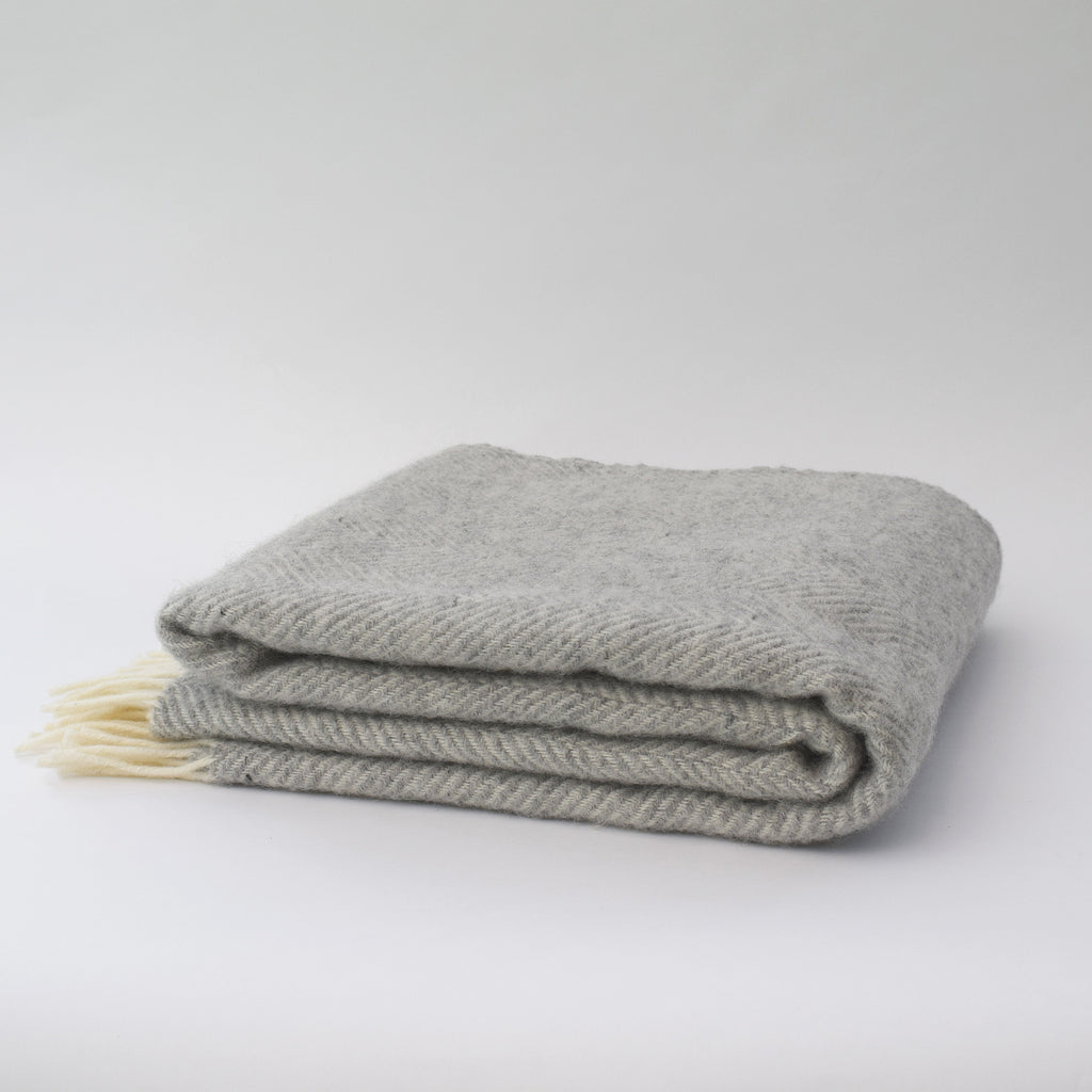 Herringbone Throw Silver Grey