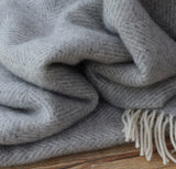 Herringbone wool throw silver - Housekeeping Store
