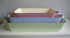 Riess Enamel Baking Pans Pink, Blue & Green - Housekeeping Store