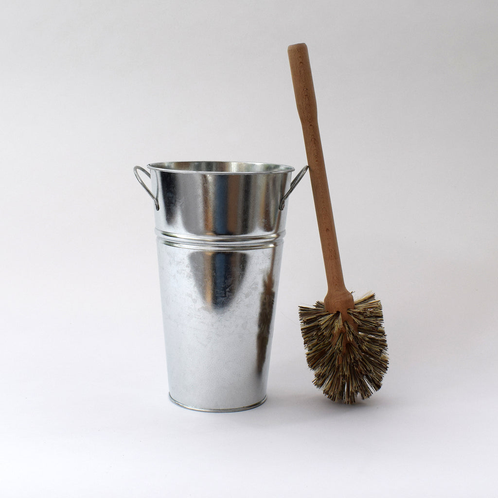 Traditional wooden toilet brush with galvanised bucket