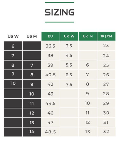 DopeKicks Size table