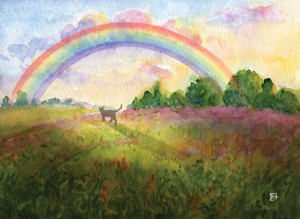 Rainbow Bridge Kitties- 5x7 blank card