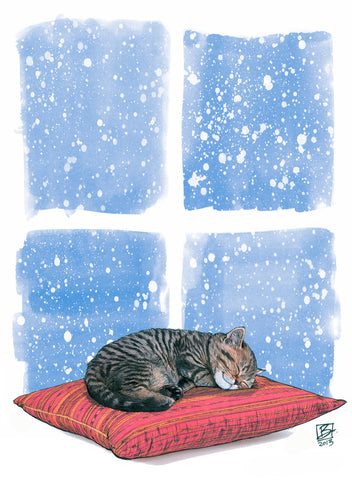 Winter Slumber - 5x7 blank card