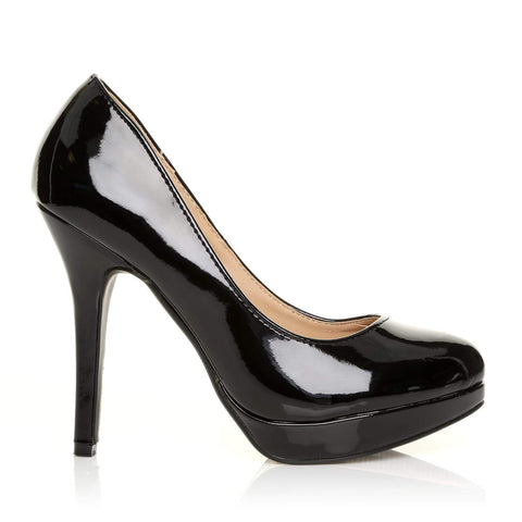EVE Black Patent PU Leather Stiletto High Heel Platform Court Shoes