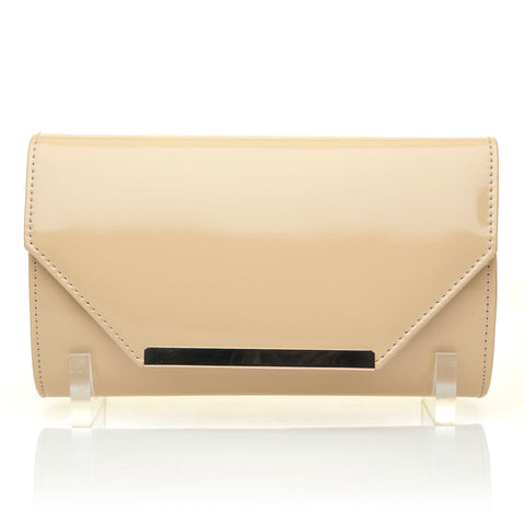 PIXIE Nude Faux Suede Medium Size Clutch Bag