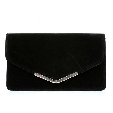LUCKY Black Suede Medium Size Clutch Bag