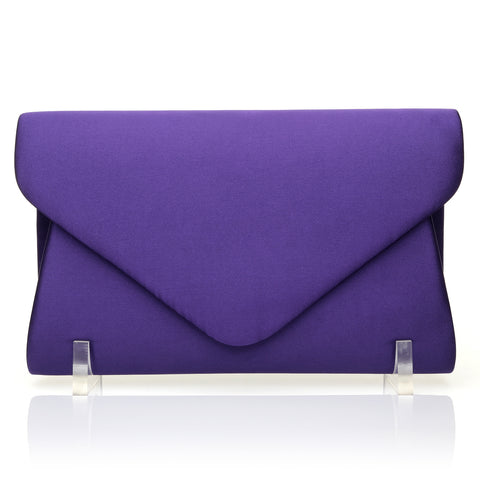 SAINT Purple Satin Medium/Large Size Envelope Fold Over Clutch Bag