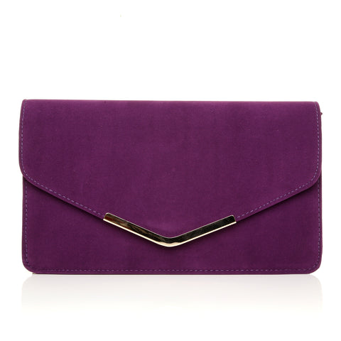 LUCKY Grape Purple Suede Medium Size Clutch Bag