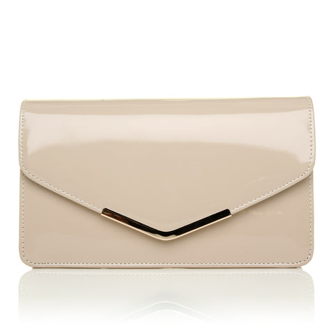 LUCKY Nude Patent Medium Size Clutch Bag