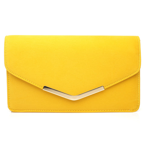 LUCKY Yellow Faux Suede Medium Size Clutch Bag