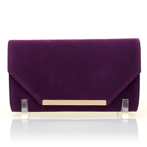 PIXIE Purple Faux Suede Medium Size Clutch Bag