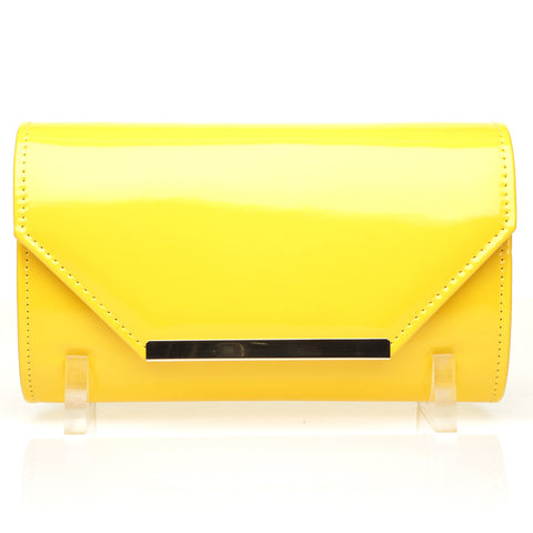 PIXIE Yellow Patent PU Leather Medium Size Clutch Bag