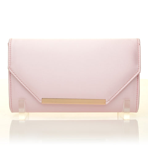PIXIE Baby Pink Satin Medium Size Clutch Bag