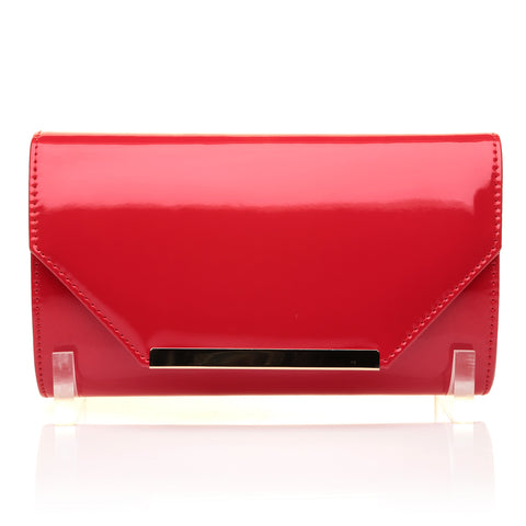 PIXIE Red Patent PU Leather Medium Size Clutch Bag