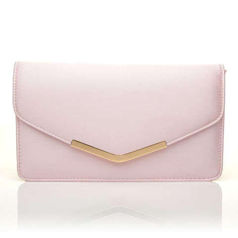 LUCKY Baby Pink Satin Medium Size Clutch Bag