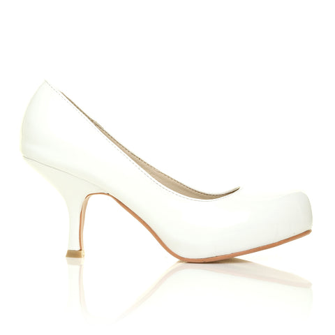 ADA White Patent PU Leather Kitten Mid Heel Classic Court Shoes