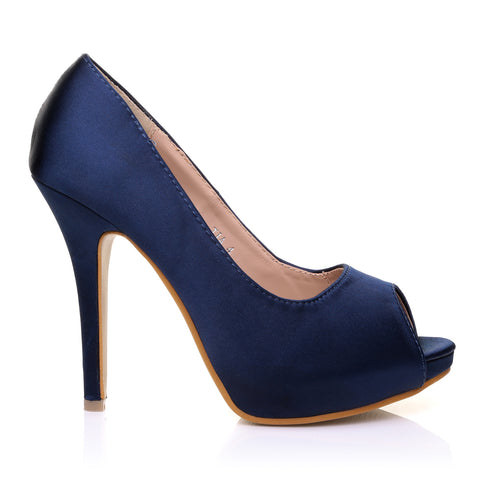 TIA Navy Blue Satin Stiletto High Heel Platform Bridal Peep Toe Shoes