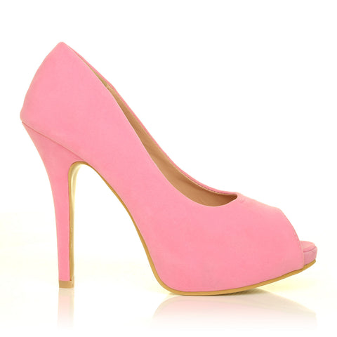 TIA Baby Pink Faux Suede Stiletto High Heel Platform Peep Toe Shoes